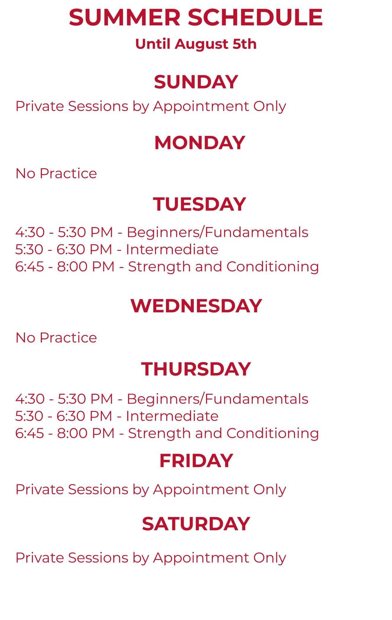 GWA Summer Schedule